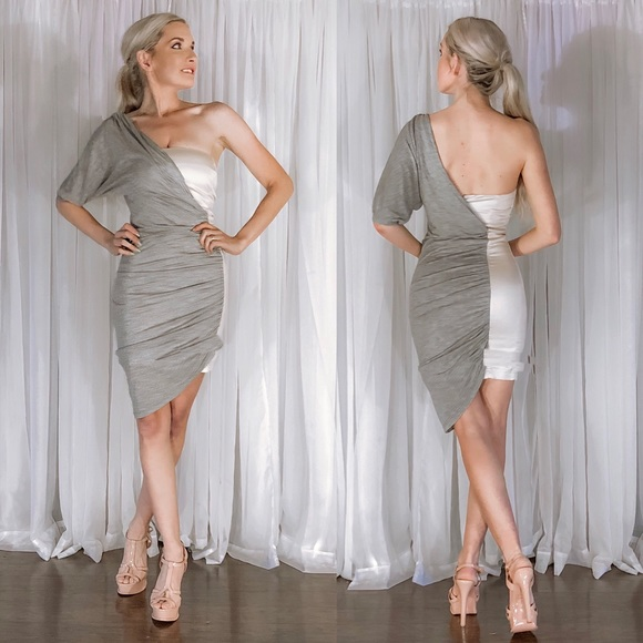 French Connection Dresses & Skirts - French Connection Grey One Shoulder Pink Dress